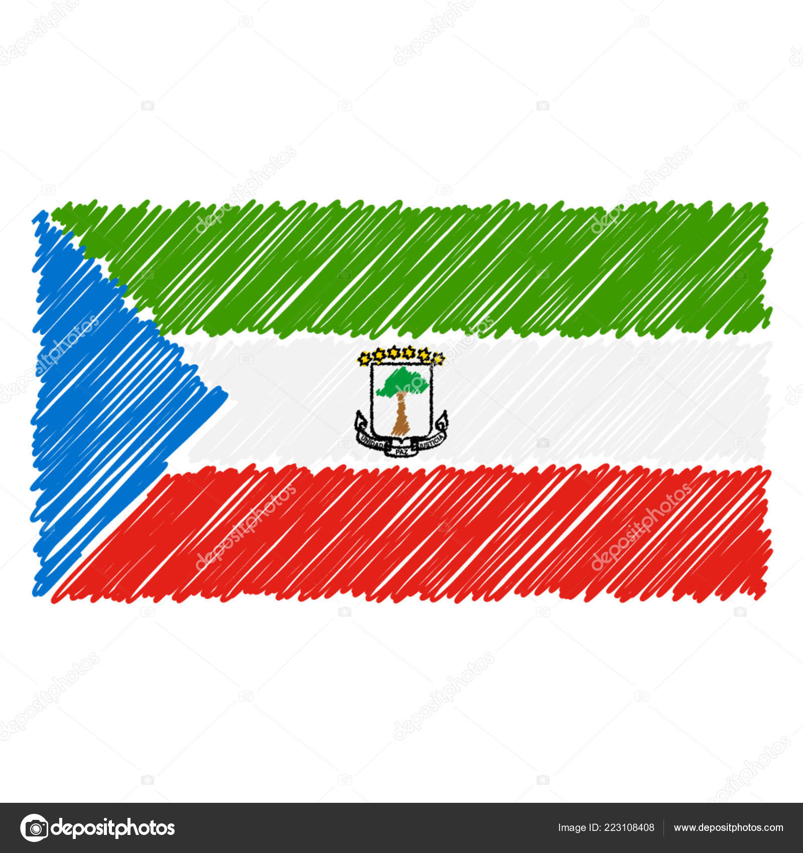 Hand Drawn National Flag Of Equatorial Guinea Isolated On A