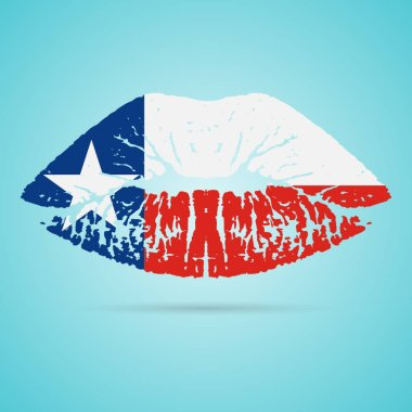 Texas Flag Lipstick On The Lips Isolated On A White Background. Vector Illustration.