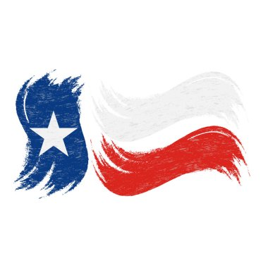 Grunge Brush Stroke With National Flag Of Texas Isolated On A White Background. Vector Illustration.