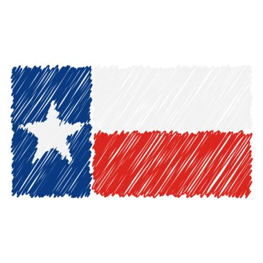 Hand Drawn National Flag Of Texas Isolated On A White Background. Vector Sketch Style Illustration.