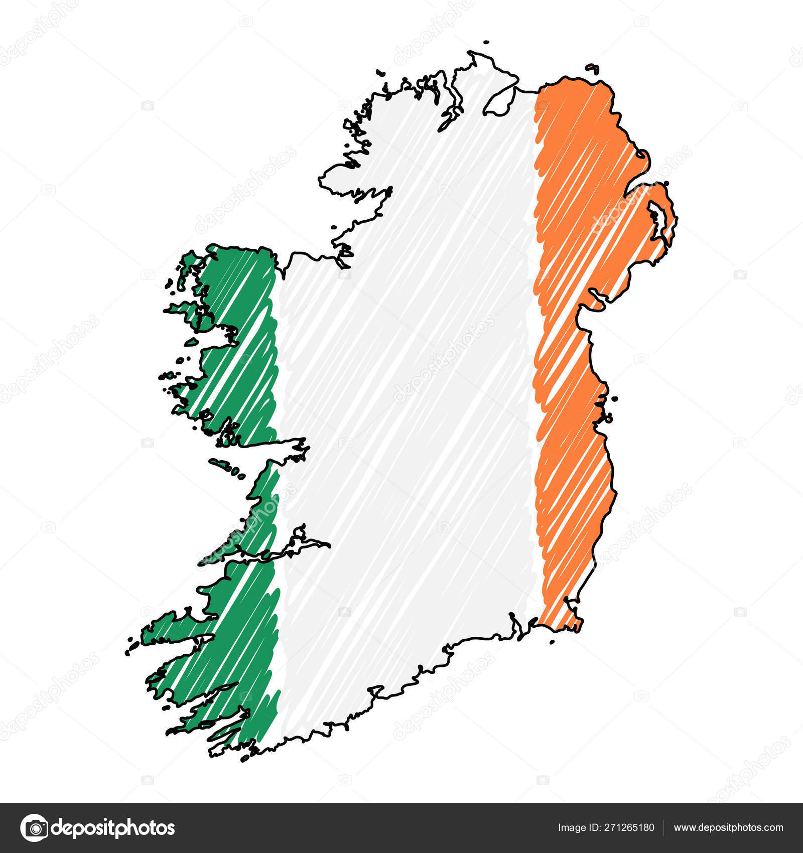 Sketch Map Of Ireland.Ireland Map Hand Drawn Sketch Vector Concept Illustration Flag