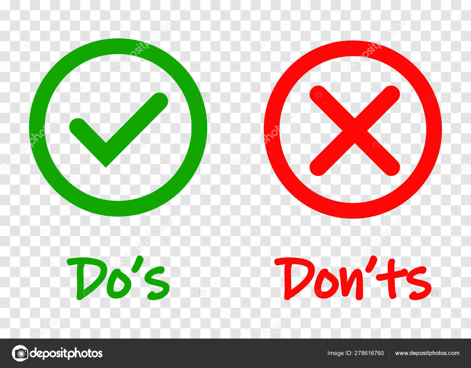 Do and Dont check tick mark and red cross icons isolated on