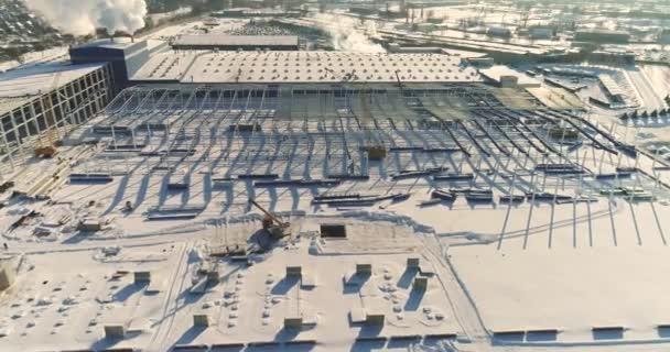 Egy modern gyár levegő nézet, egy nagy vas-építés, egy modern gyár légi nézetet, építése egy modern gyár vagy raktár, modern ipari külső építése