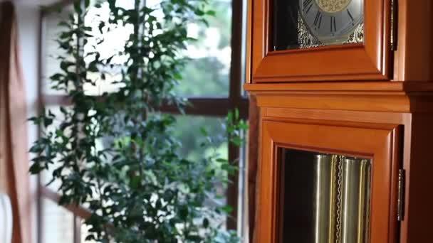 Nagy régi fa óra, inga, régi fa óra ingával, antik fából készült óra-val egy inga