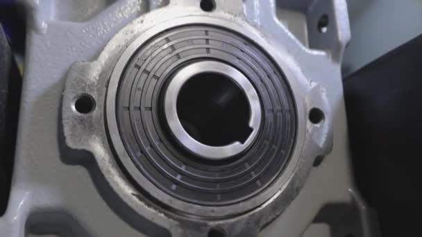 Motor gearbox in operation, gearbox rotation, conveyor equipment