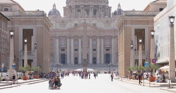 Via della Conciliazione in front of the Basilica of Saint Peter in the Vatican. Cathedral basilica in Vatican city center of Rome Italy.