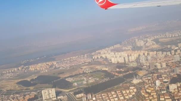 Pohled na město z okna letadla. Megapolis pohled letadlem Pohled z okna letadla