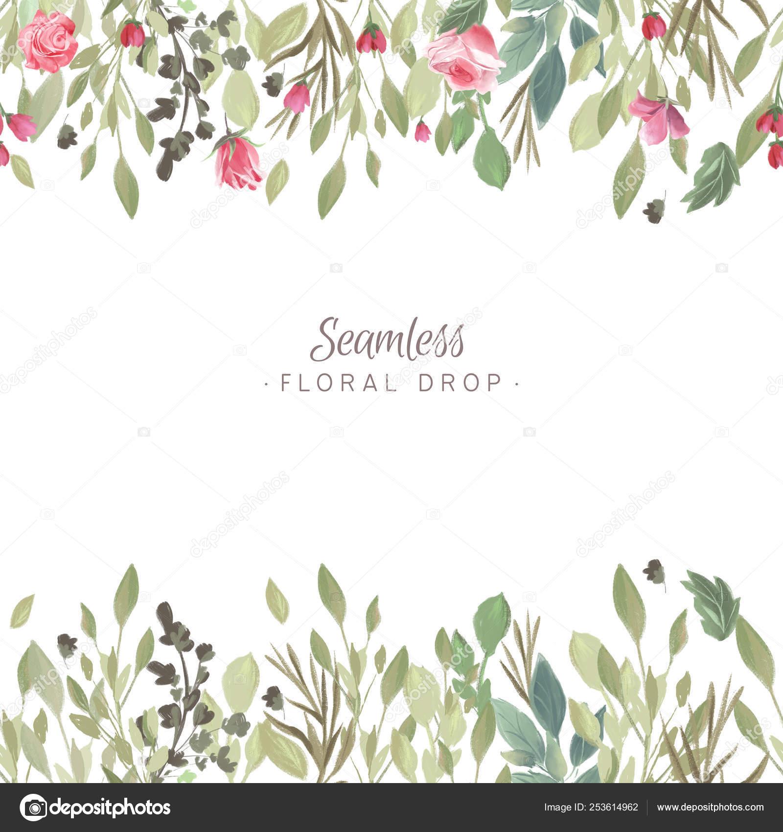 Watercolor Floral Background Vintage Backdrop Flowers Arrangement