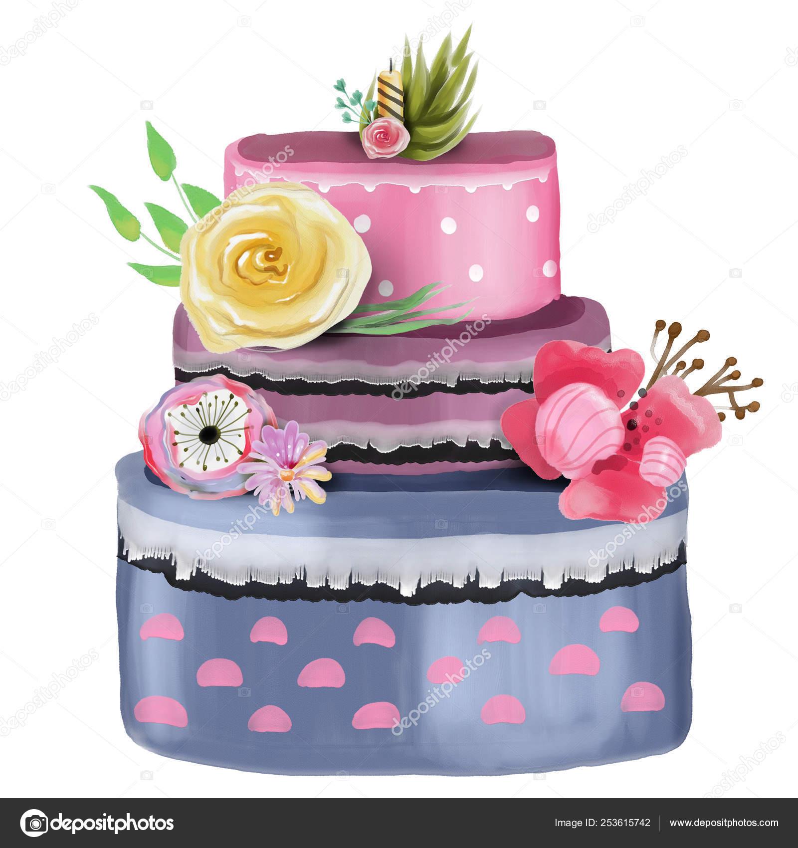 Miraculous Beautiful Birthday Cake Decorated Flowers White Background Stock Personalised Birthday Cards Petedlily Jamesorg