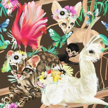 "Картина, постер, плакат, фотообои ""узор без тюленей с фламинго, кошкой оселот, ламой, обезьяной и лисицей с колибри и бабочками ."", артикул 253613950"