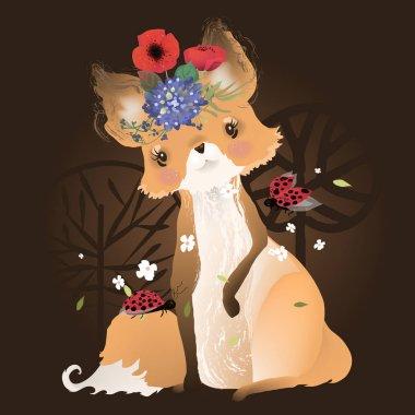 """Картина, постер, плакат, фотообои """"волшебная лиса с божьими птицами и цветами, творческая иллюстрация на темном заколдованном фоне """", артикул 253616028"""