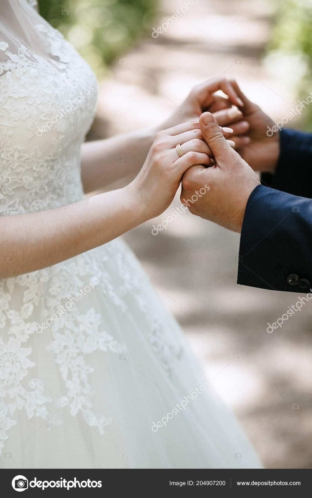 Groom Holds Bride Hands Wedding Dress Beautiful Manicure Wedding