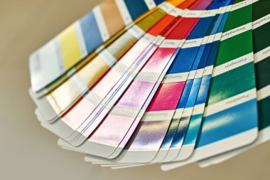Color wheel for choosing paint tone, samples of various paints