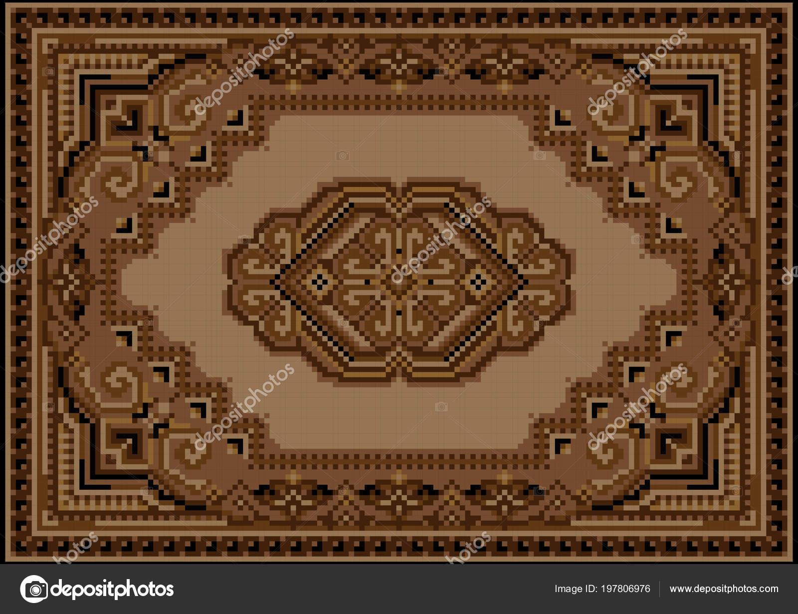 2b3d3c86060e Retro Luxusní Koberec Odstínech Hnědé Béžové Vzorem Žlutém Poli Béžové–  stock ilustrace