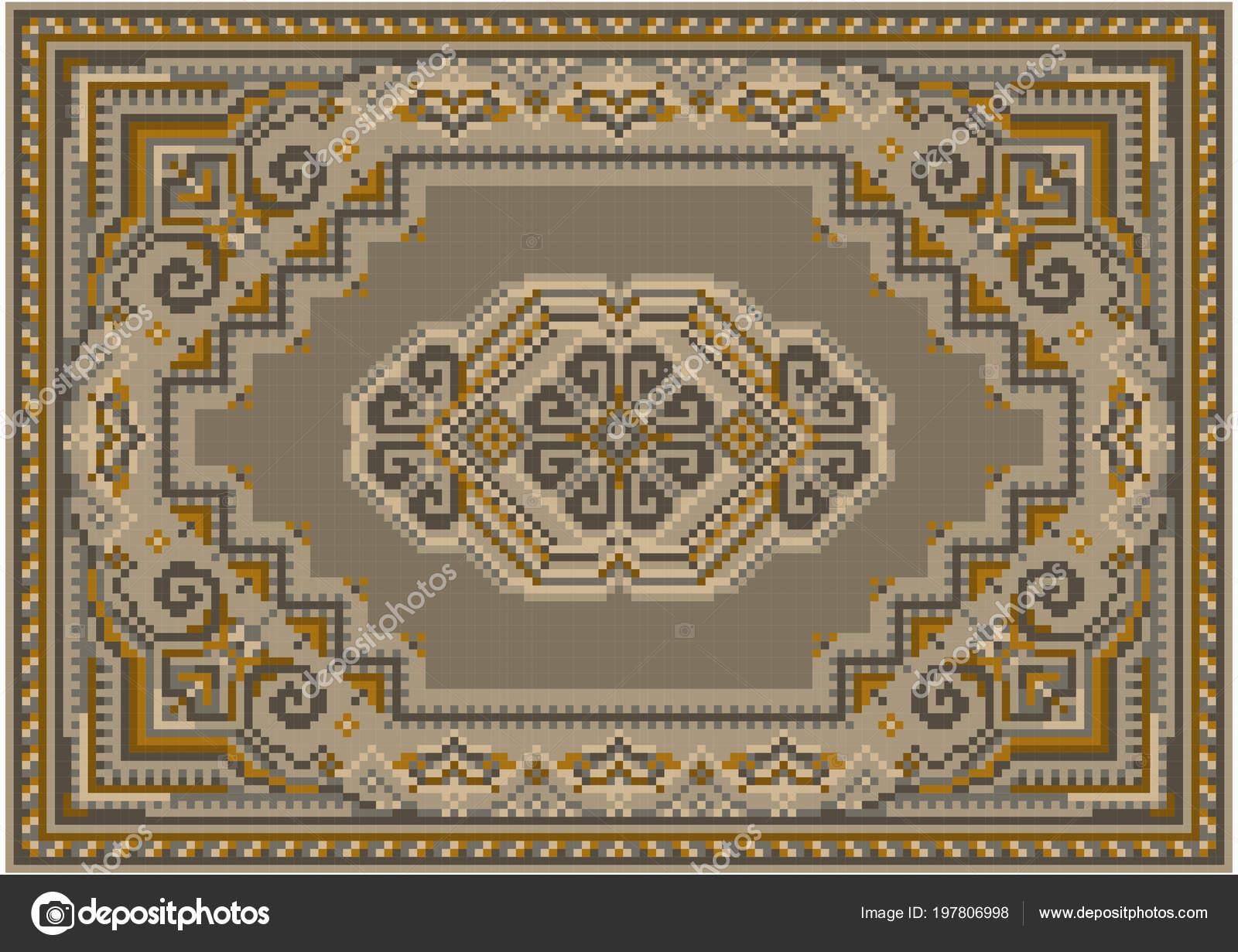 18d23de4f74e Retro Luxusní Koberec Béžové Hnědé Odstíny Vzorem Béžové Pole Středis–  stock ilustrace