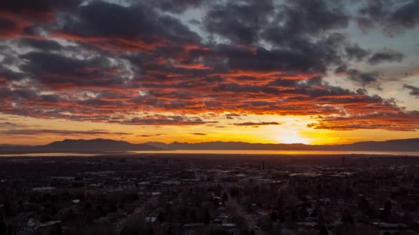 Sunset time lapse over Provo displaying magnificent colors reflecting on clouds