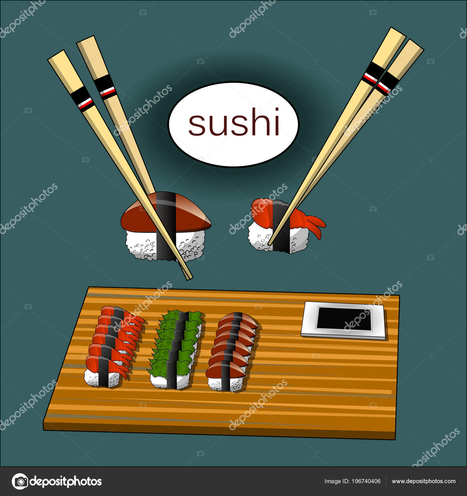 Concept Design Of The Invitation Sushi Restaurant Vector Illustration Stock Vector C Annamaglyak 196740406