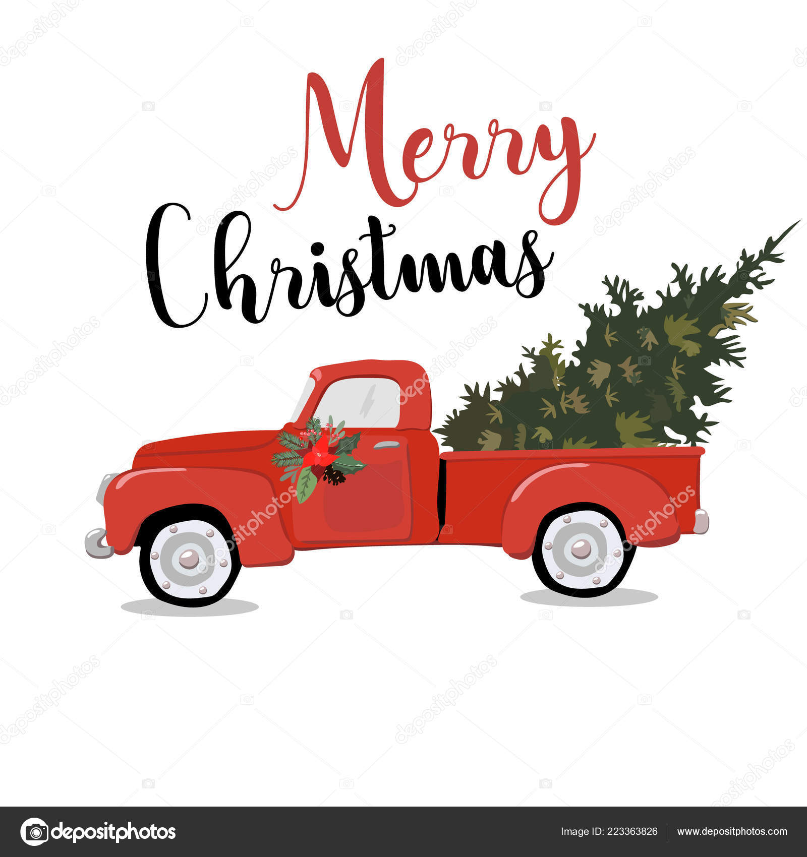 Merry Christmas Greeting Card Illustration Of Vintage Red Car With Xmas Pine Tree Gift On Roof Eps10 Vector Stock Vector C Annamaglyak 223363826
