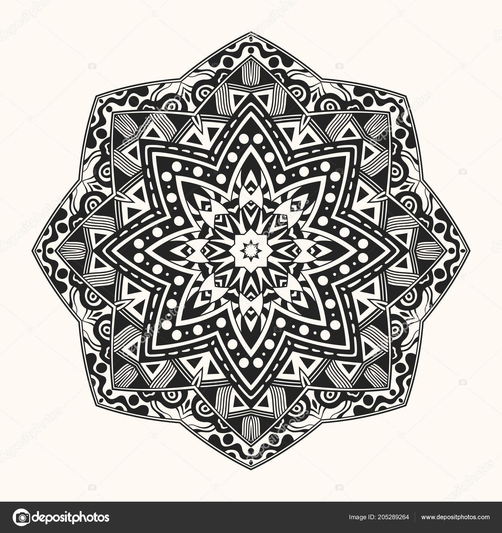 Vector Zentangle Template Creative Circular Ornament Symmetrical Pattern Decorative Mandala Stock