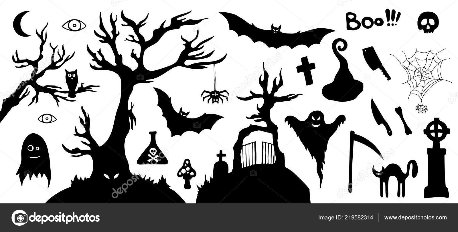 Halloween Vector Black And White.Halloween Picture Black And White Set Silhouette Horror Images
