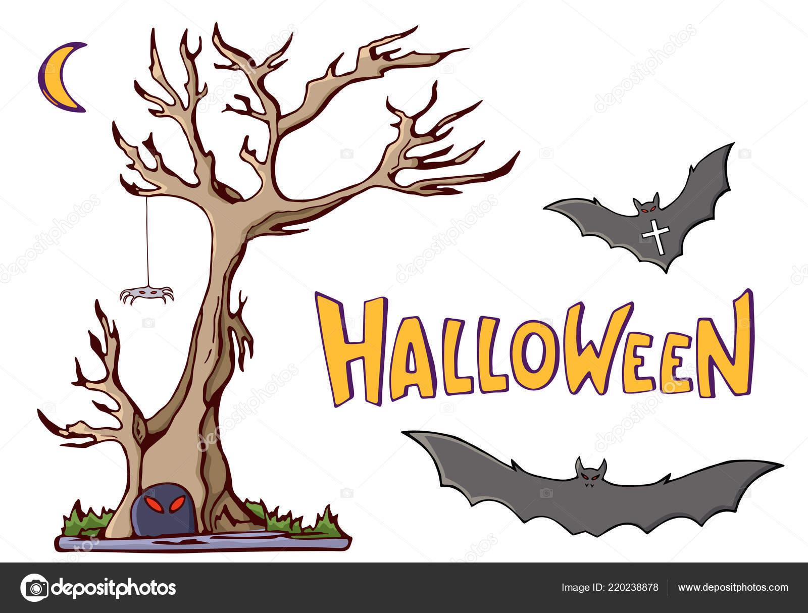 Formas Dibujos Animados Color Sobre Tema Halloween árbol Luna