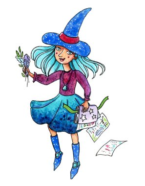 Hand drawn watercolor painting of a girl-witch studying spells, for girl's room or Halloween illustration