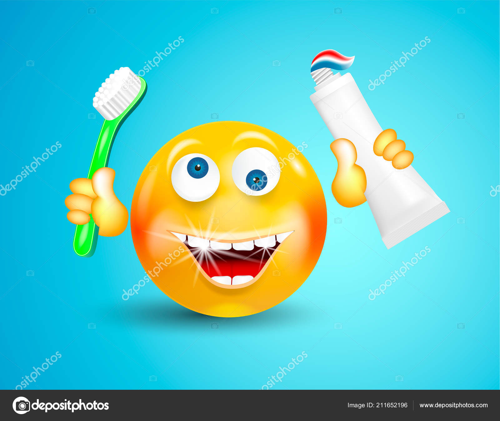 Felice che sorride con il bianco scintillante denti emoticon o