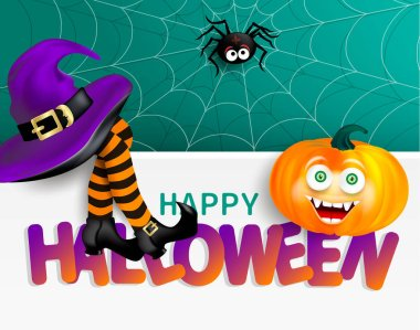 Cute spider on cobweb, orange pumpkin with happy monster face, purple witch hat and legs with striped stockings on white banner with bright text Happy Halloween