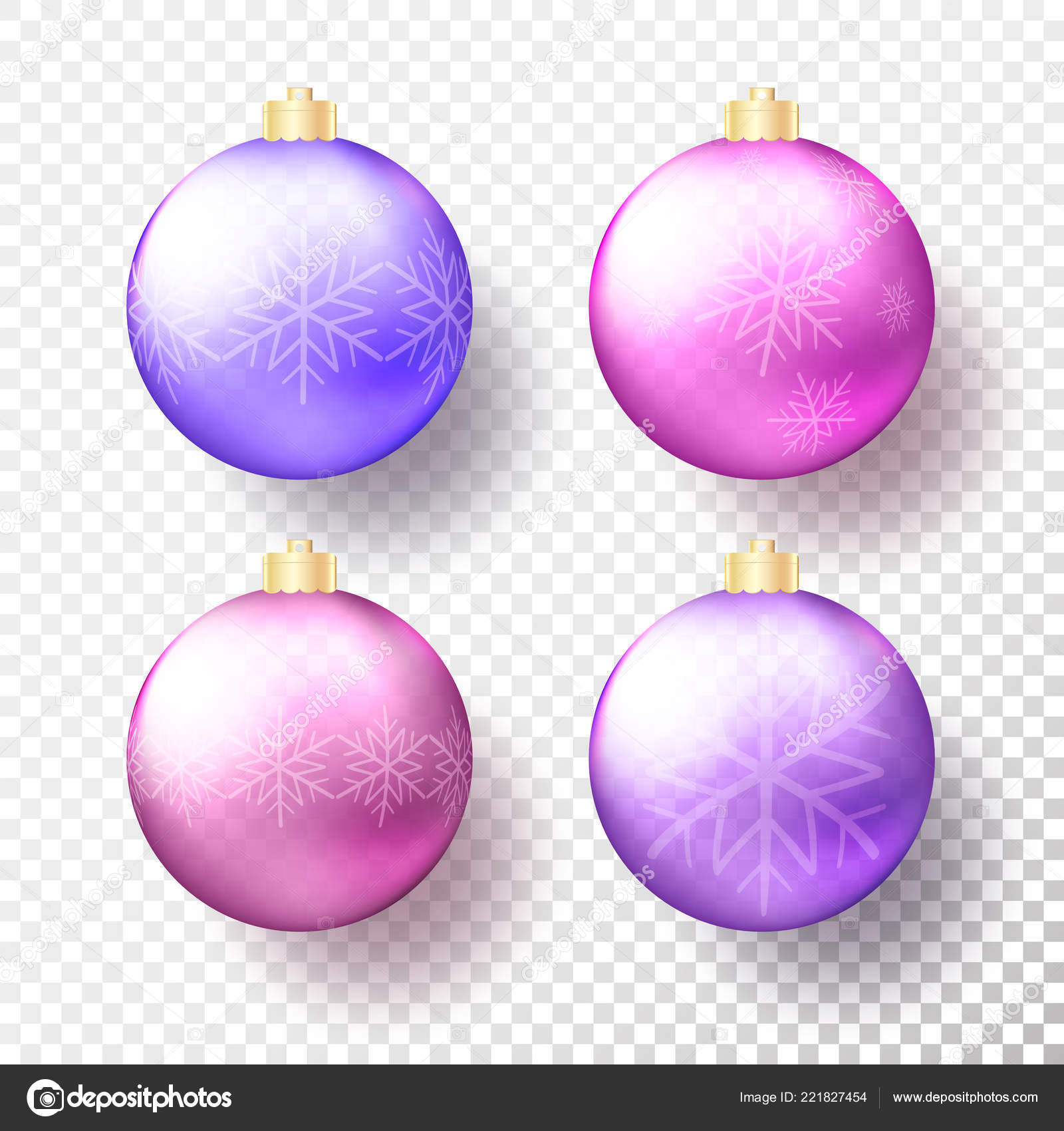 set four realistic colored christmas new year transparent baubles