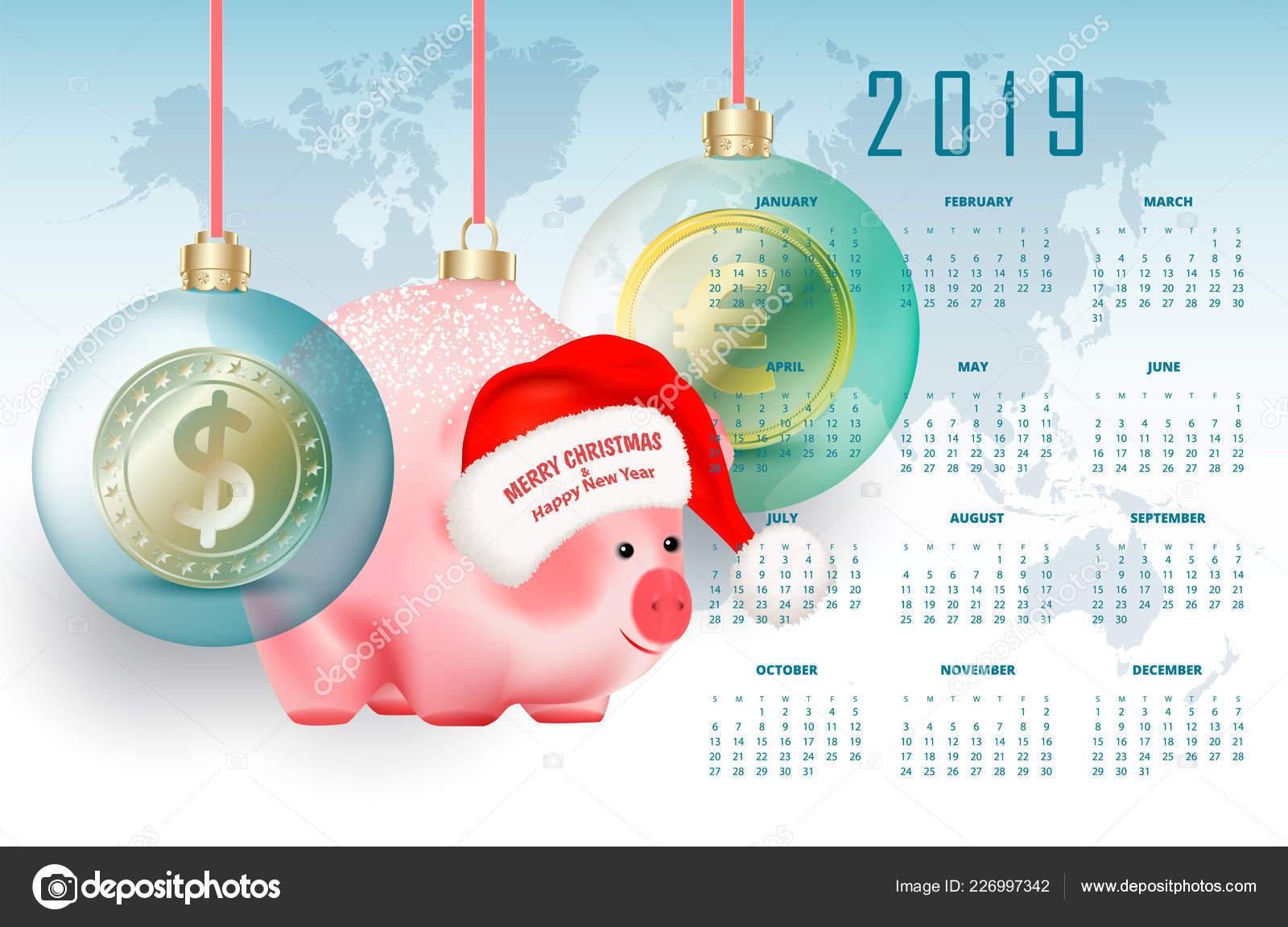 Rossi Sul Calendario.Calendario Affari Anno 2019 Con Valute Maiale Mondo Simbolo
