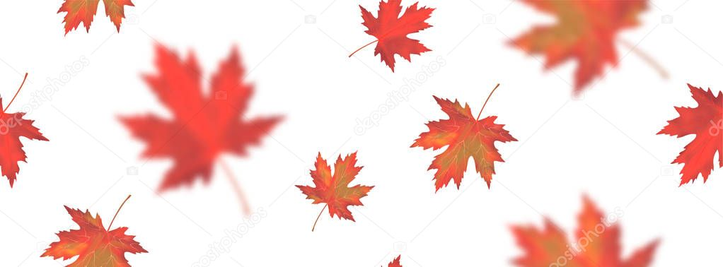 Seamless pattern with bright orange red blurred falling maple leaves isolated on white background. Seasonal banner, cover, wallpaper or holiday vintage decor. Realistic Vector illustration.