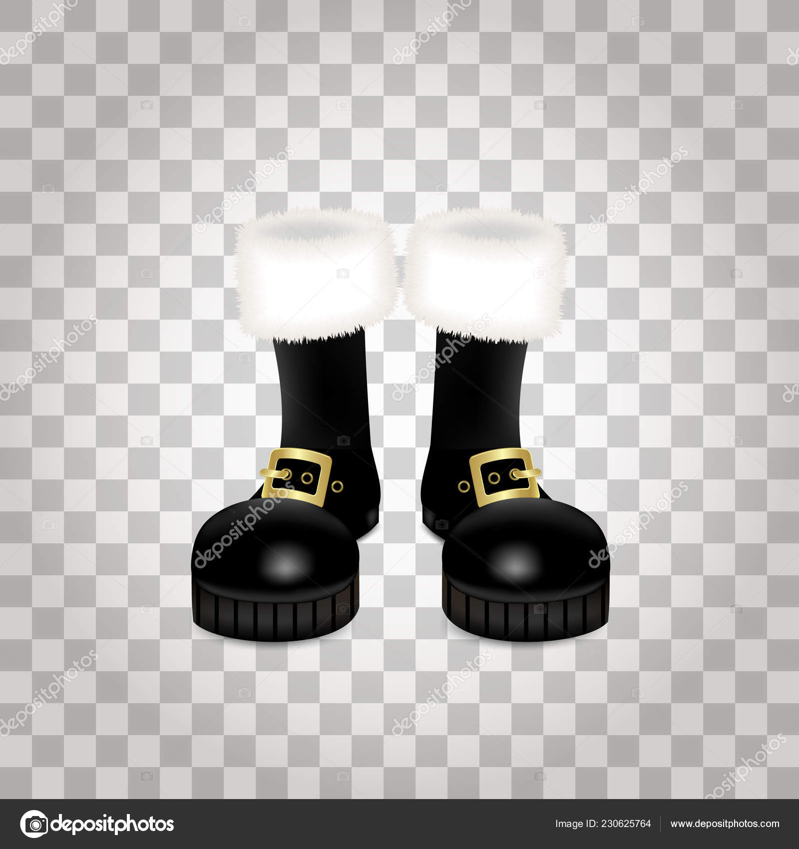 Front Side Pair Santa Claus Christmas Black High Boots