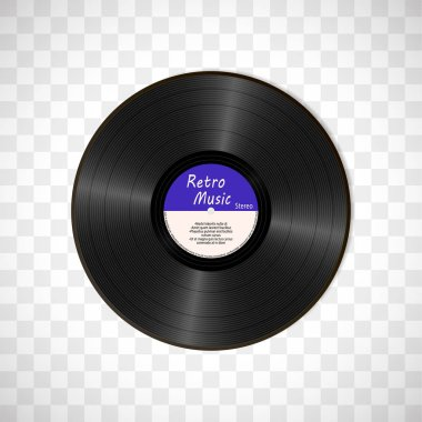 Realistic Black Vinyl Record. Retro Sound Carrier isolated on transparent background.