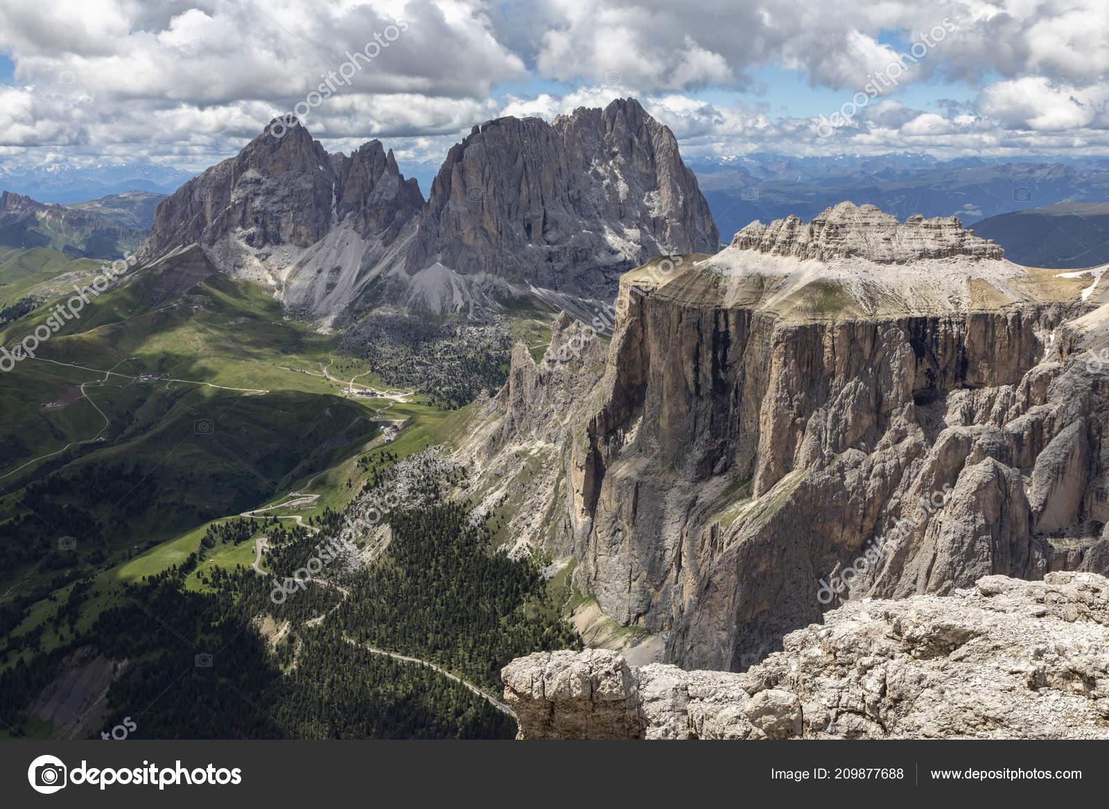 Sella Towers Italian Dolomites Sass Pordoi Terrazza Delle Dolomiti
