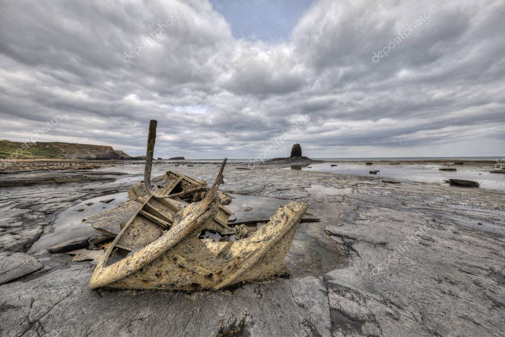 Black Nab, Saltwick Nab and shipwreck of the Admiral von Tromp near Whitby