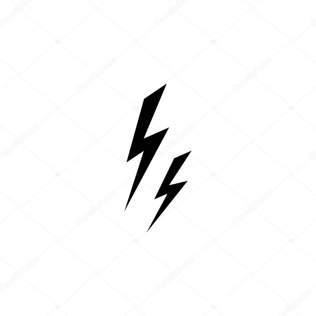 ✓ Black lightning bolt simple flat icon. storm or thunder and ...
