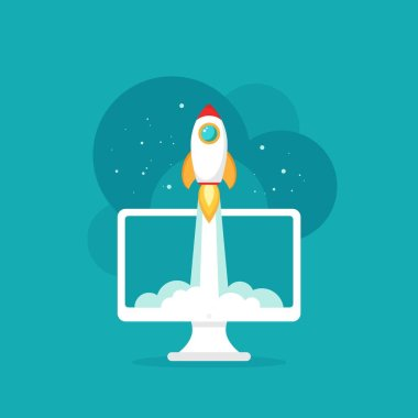 computer screen with rocket or shuttle flying out. workplace on blue background. freelancer, designer, writer job. Vector flat illustration. Creative work or study. Imagination, inspiration, Fantasy.