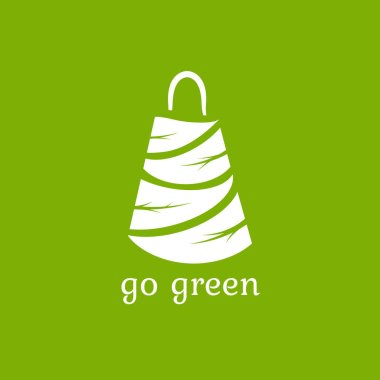 Green shopping bag made of leaves. Reuse or recycle eco package for products or food. flat icon isolated on green. vector illustration. No plastic Go green concept icon