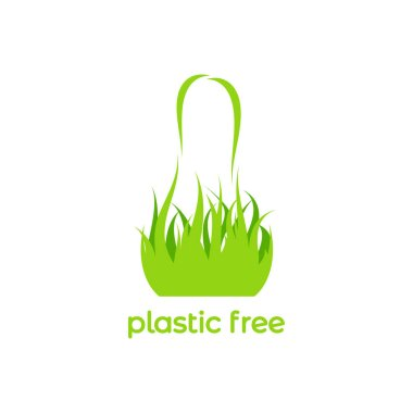 Green shopping bag made of leaves and grass. Reuse or recycle eco package for products or food. flat icon isolated on white. vector illustration. Plastic free bag concept. icon
