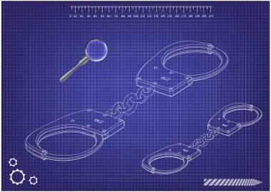 3d model of handcuffs on a blue