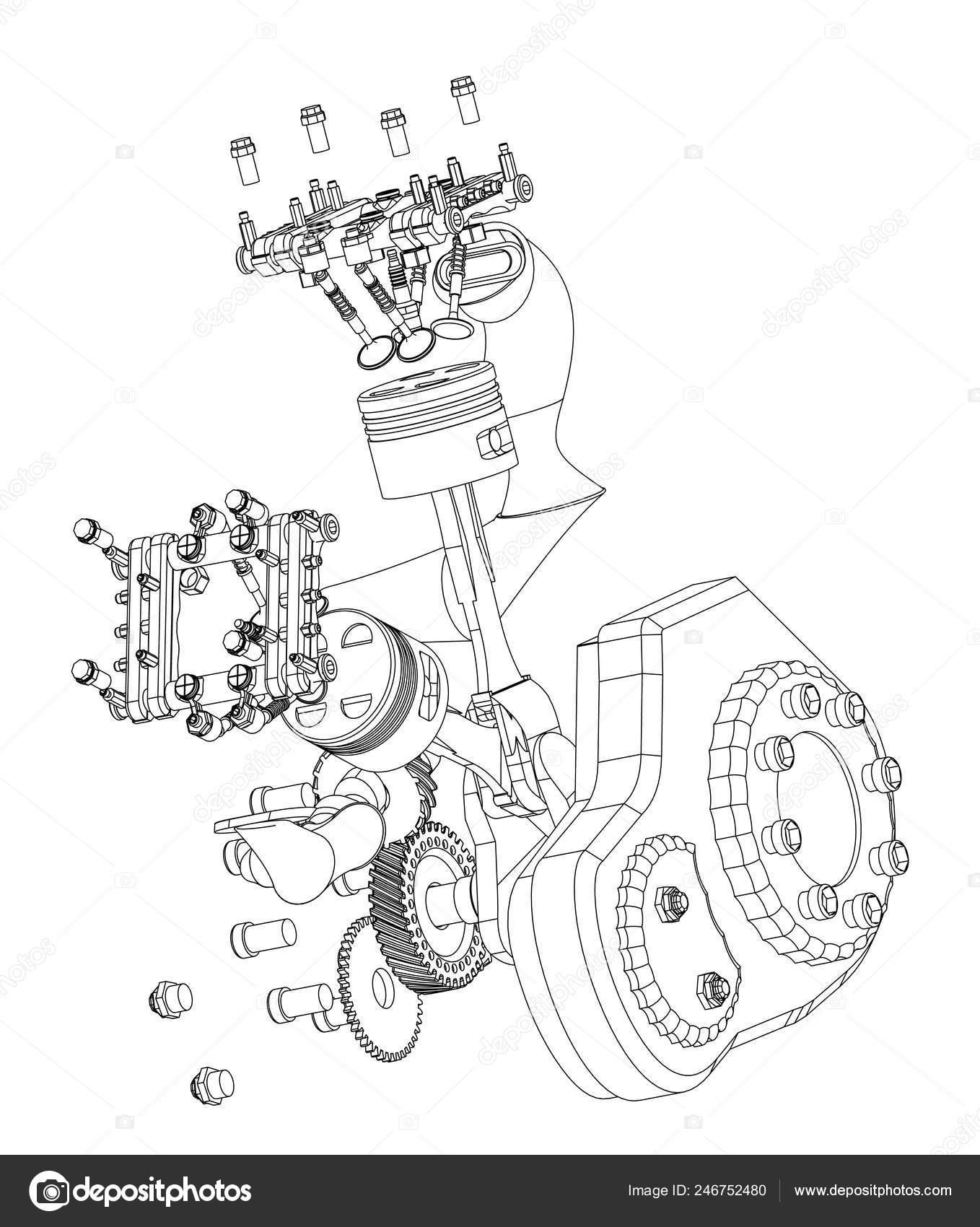 Motor De Motos Desarmadas En Un Blanco Vector De Stock