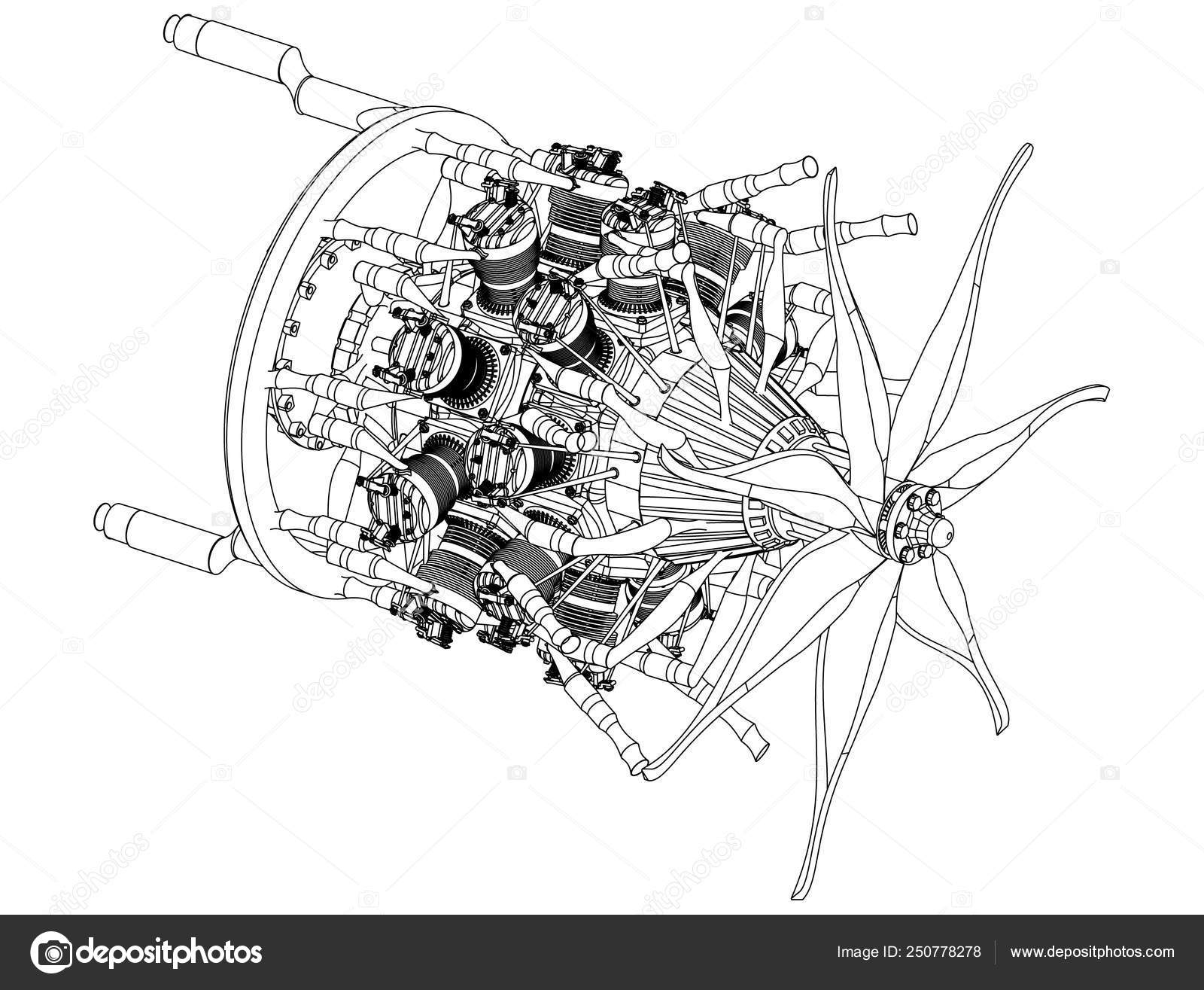 radial engine on a white — stock vector