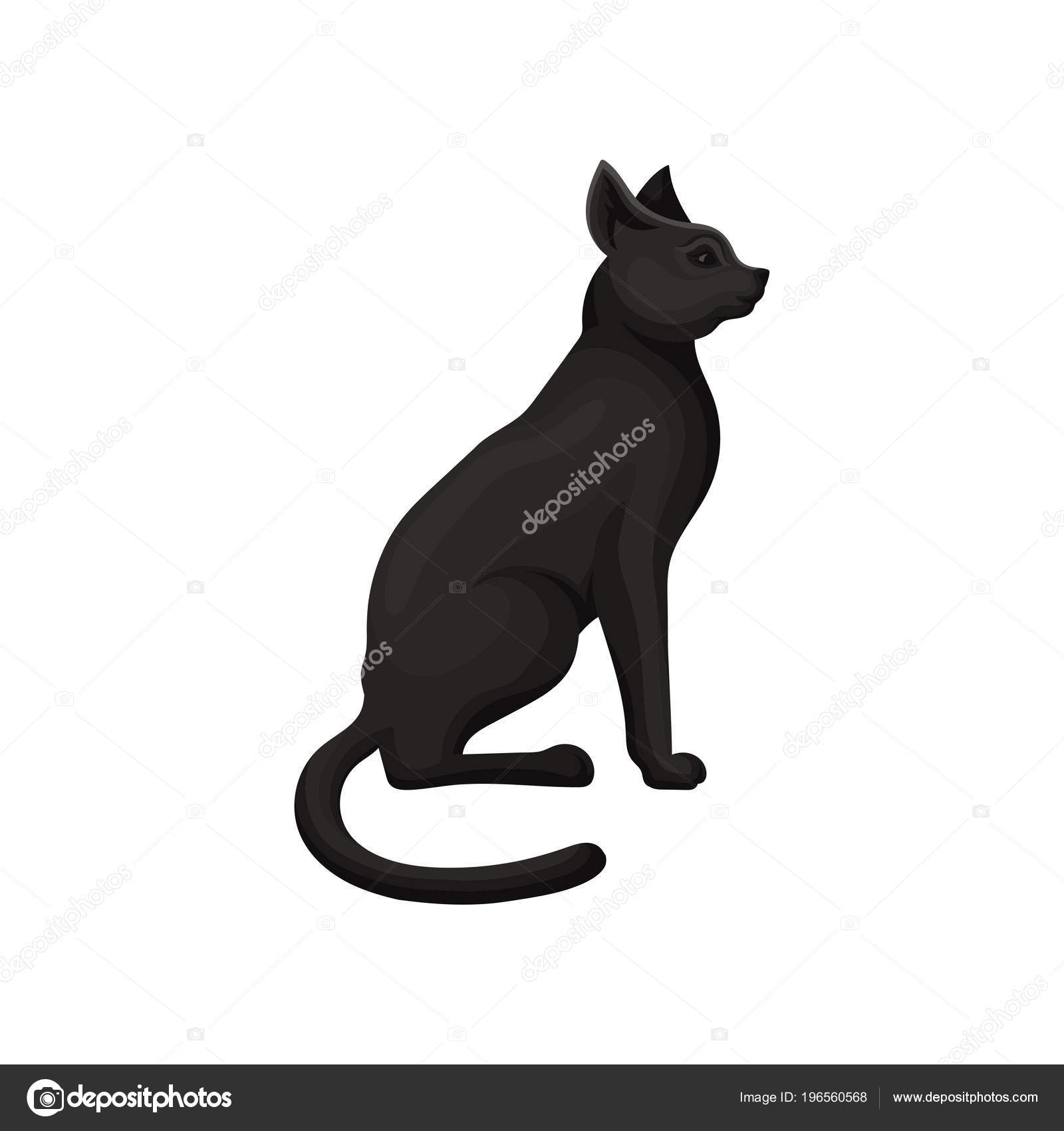 Detailed Flat Vector Icon Of Graceful Black Cat Sacred Symbol Of