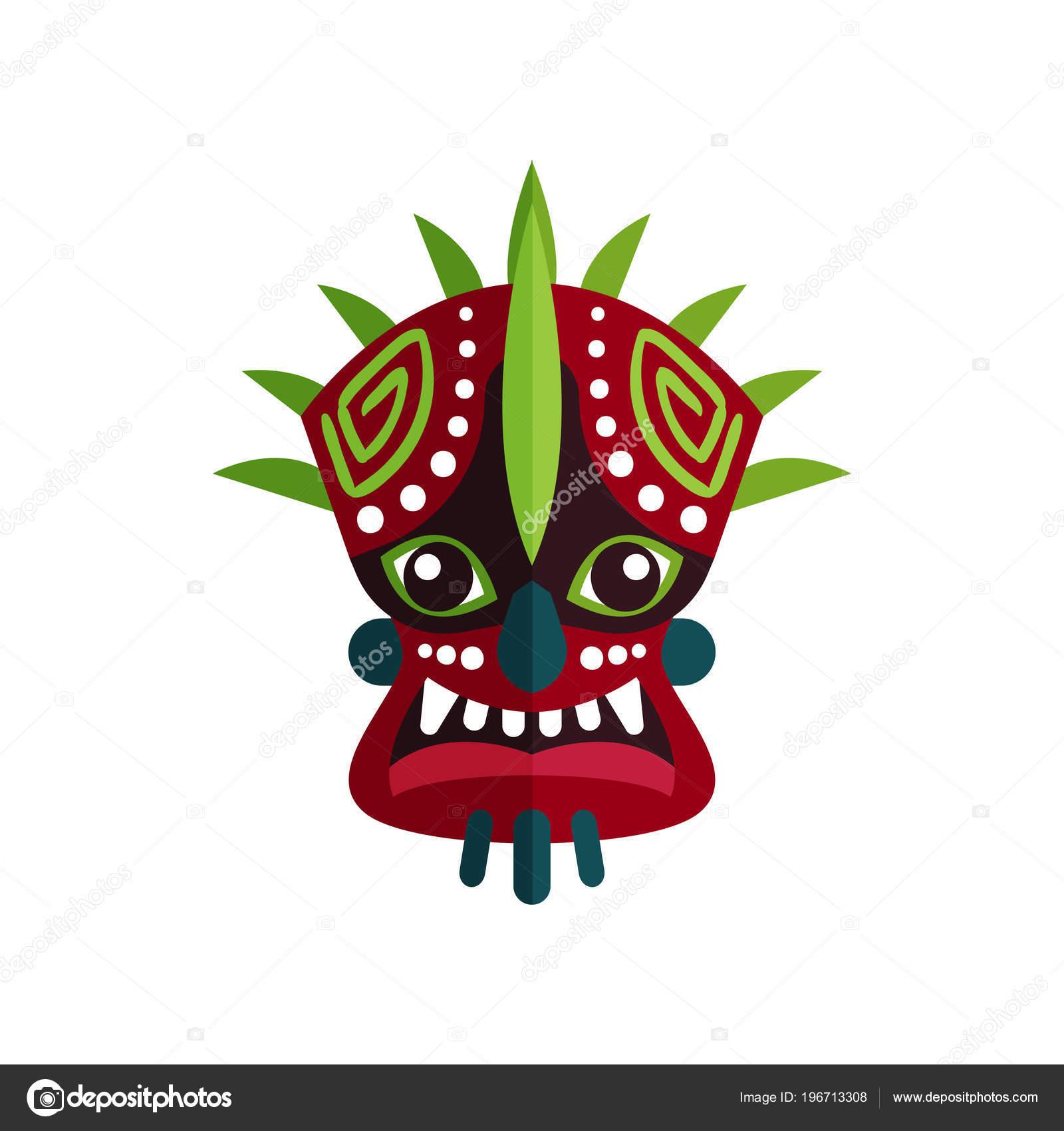 Ethnische Tribal Maske Mit Ornamenten Großen Augen Und Zähne