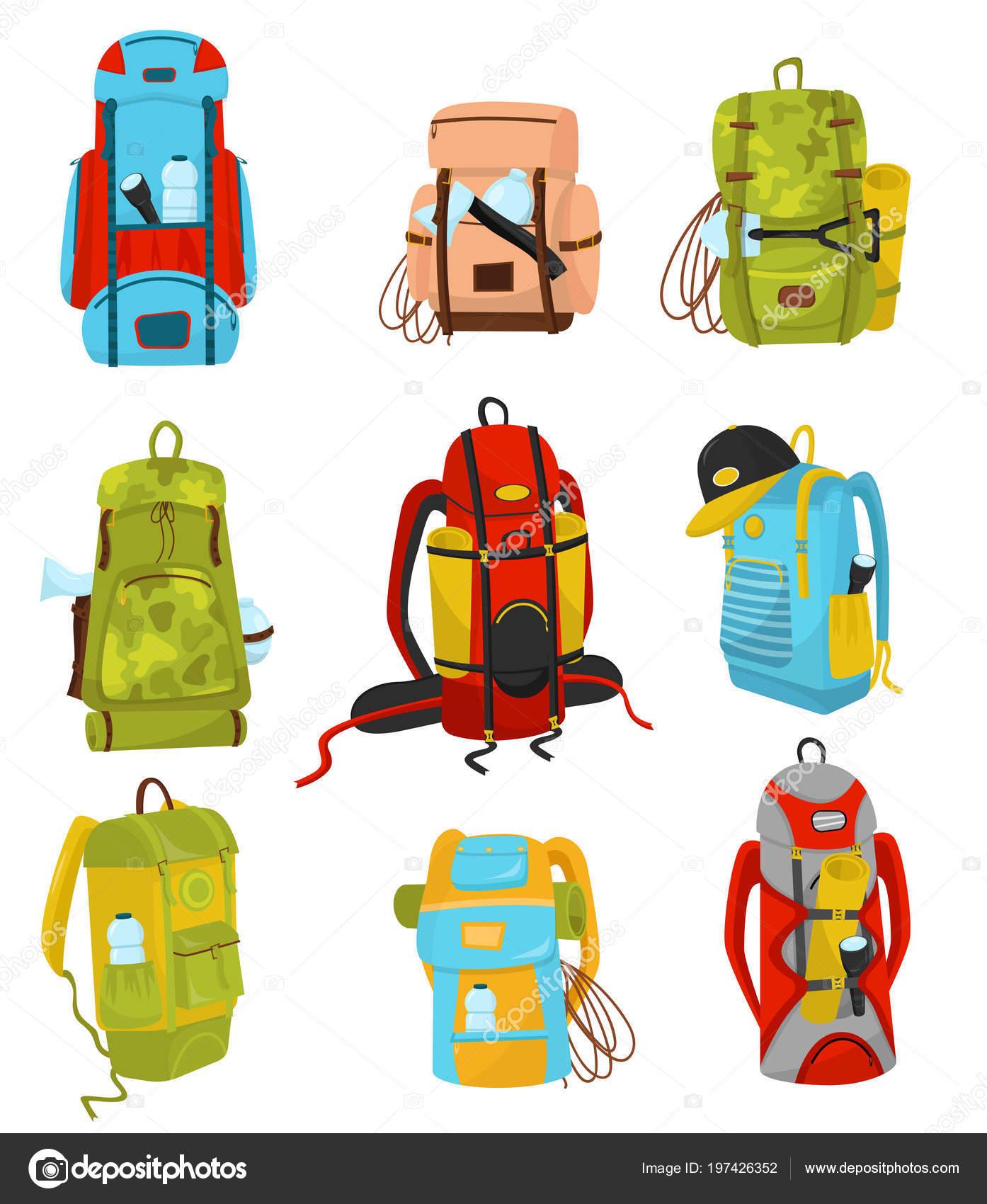 0e20aa00ea83f Flache Vektor-Set bunte Rucksäcke mit verschiedener Ausrüstung  Taschenlampen Wandern und camping-Matten