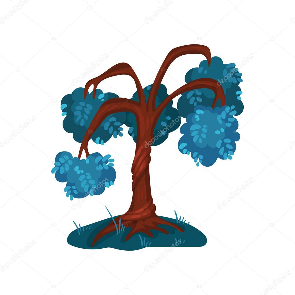 Fairytale tree with blue foliage, fantasy nature landscape element, detail for computers game interface vector Illustration on a white background