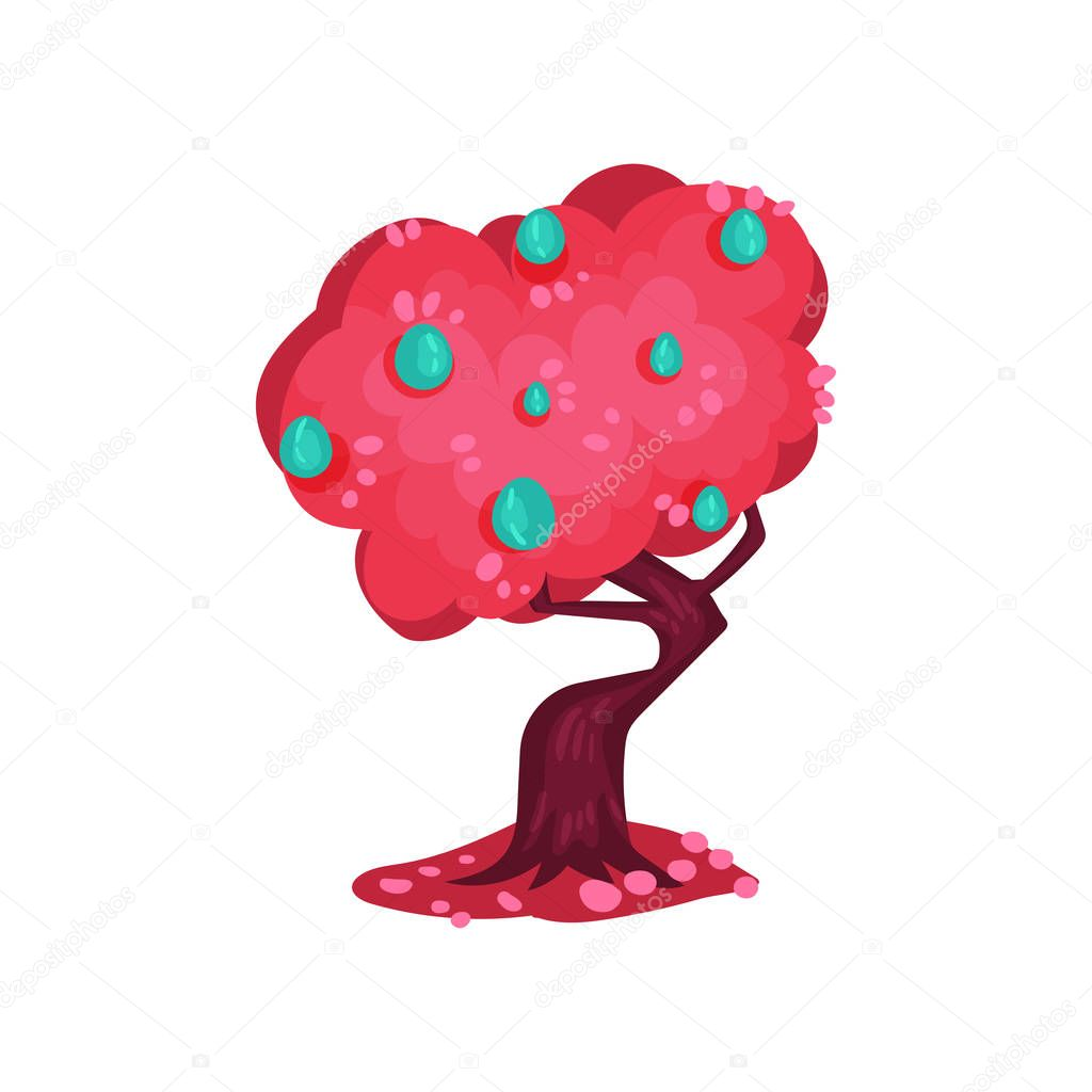 Fairytale tree with bright pink foliage and turquoise fruits, fantasy nature landscape element, detail for computers game interface vector Illustration