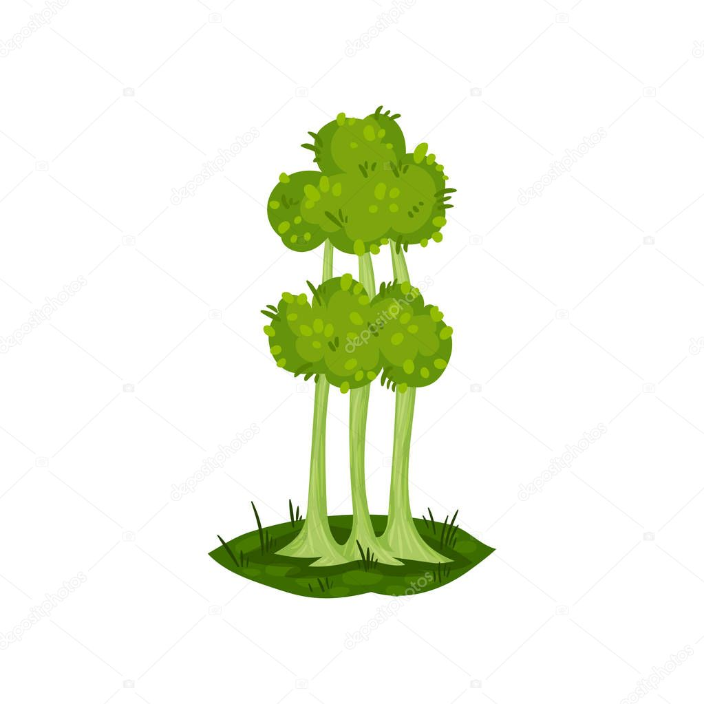 Green tree, fantasy nature landscape element, detail for computers game interface vector Illustration on a white background