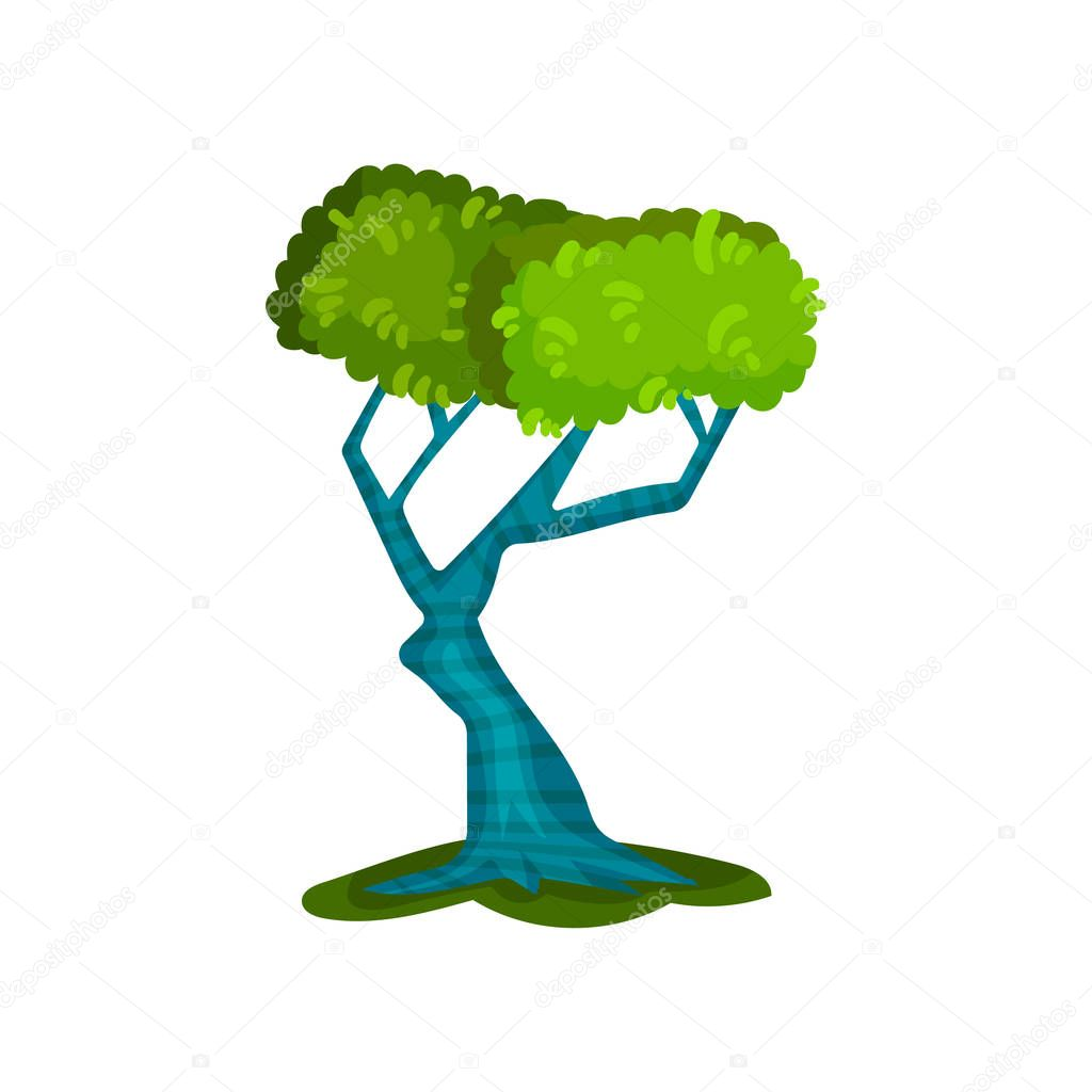 Beautiful green tree, fantasy nature landscape element, detail for computers game interface vector Illustration on a white background