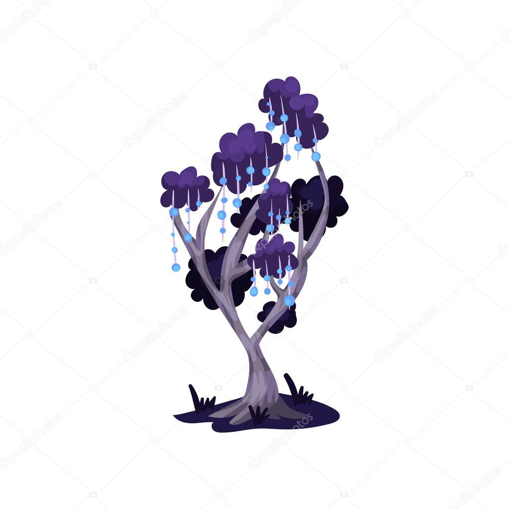 Fairytale tree in blue colors, fantasy nature landscape element, detail for computers game interface vector Illustration on a white background